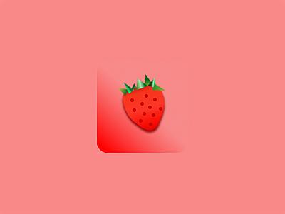 Strawberry Icon app design ux ui adora horton illustration mobile ux figma design strawberry app icon logo app icon daily ui 005 mobile design product design daily ui