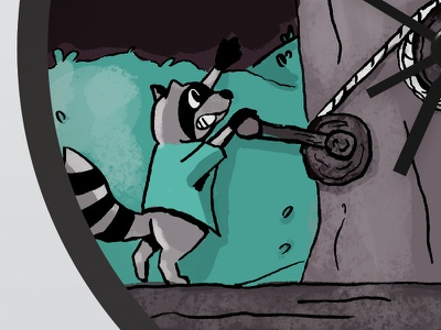 Doodlers Anonymous x Blik Clock Challenge Submission blik clock raccoon forest doodlersanonymous illustration