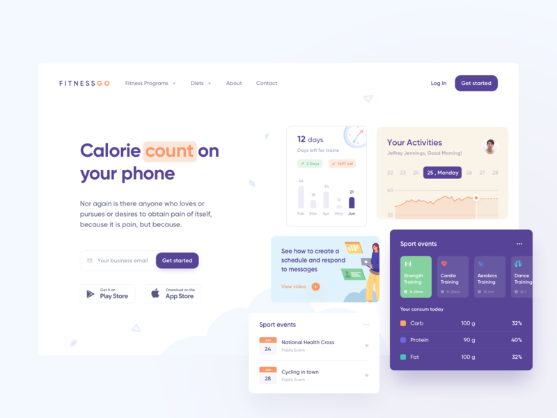 Calorie Count page typography landing vector branding night isometric illustrations logo icon app icons ux web ui design illustration