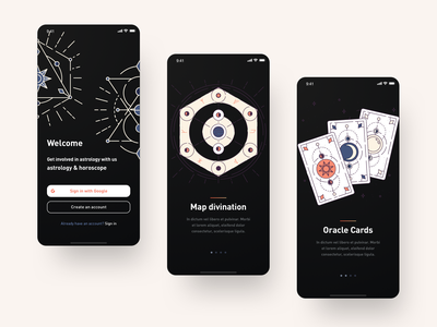 Tarot icons ux web ui typography design vector illustration astronomy astrology tarot card tarot