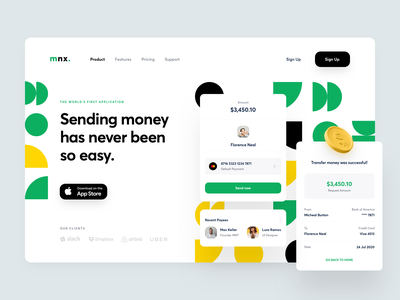 Money Transfer typography dashboard money finance branding ui design illustration