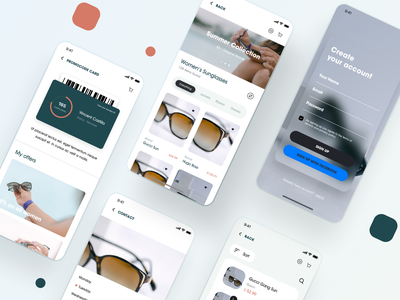 Sunglasses shop - Mobile Version branding isometric illustrations logo icon app icons ui ux web design illustration