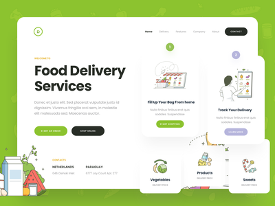 Food Delivery Services delivary store grocery vector branding ux logo app icons web design ui illustration