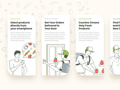 Grocery Services vector branding logo app ui icons ux web design onboarding delivary food delivery services grocery illustration