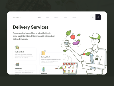 Food Delivery Services vector branding logo app icons ux web ui design home delivery illustration landing page homepage service services grocery delivery food