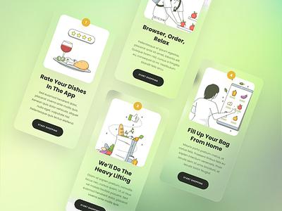 Grocery Services vector branding logo app icons ux web ui design illustration