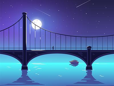 Late night bridge shinning moon stars water america boy night late bridge illustration