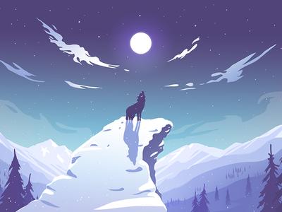 Wolf illustration tress air clouds moon alaska night winter wolf