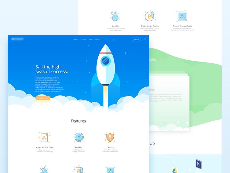 Kraken Redesign pro macbook colours illustration success rocket icons website redesign