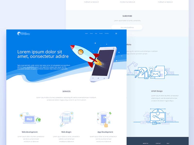 Website mobile rocket ux ui illustration design web