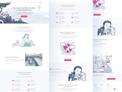Pocket Landing Page coaching ui ux design web page landing pocket illustration