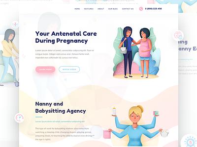 Babysitter - Sneak Peak pragnent babysitter ux ui logo app design web icons illustration