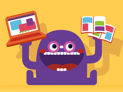 Geeki Fredd blush happy glasses laptop comics books day embrace your geekiness creature monster cute geek