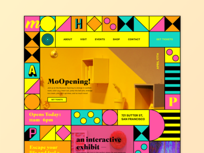 MoHappy – Landing Page serif web design event grid pattern landing page colorful happiness museum ux ui website