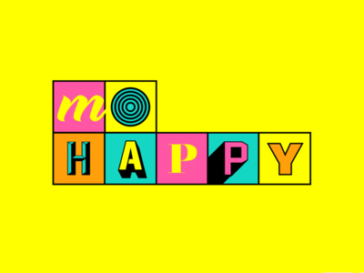 MoHappy – Logo Identity weird fonts type typography grid museum bright colors neon identity logo