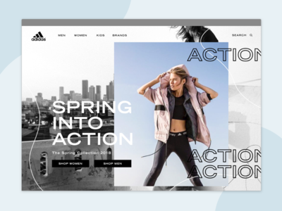 Spring Into Action — Landing Page lines sports photography typography clothing advertisement ad adidas campaign page landing