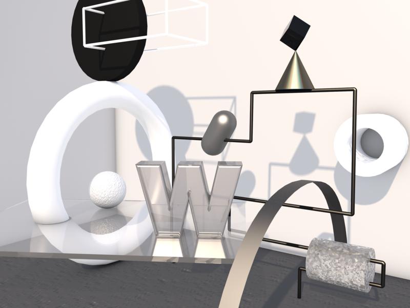Black and W' – Still Life render 3d cinema reflections peter tarka still life black and white w cinema4d