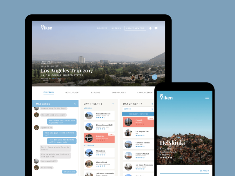Viken — Travel Planning App itinerary messages viken ipad uidesign phone photo travel product design ux ui app webdesign webapp