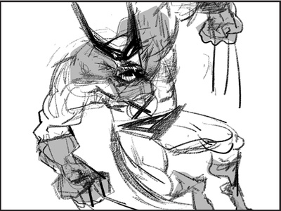 Wolverine! (Weapon X Edition) Sketch illustration digital concept drawing photoshop gesture comic wolverine superhero black  white sketch