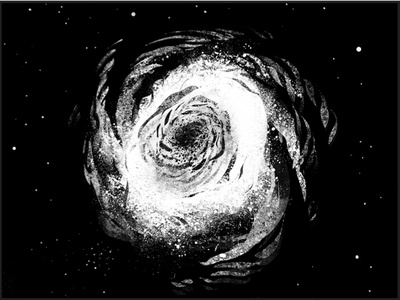 Spiral Galaxy 1 illustration digital concept drawing photoshop black  white science nerd space astronomy stars cosmos