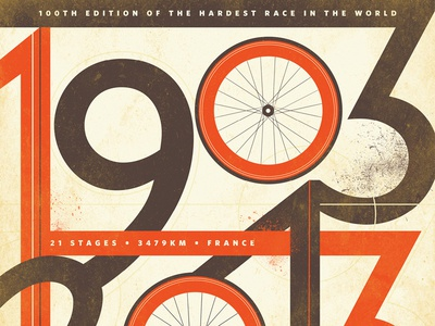 100 Years of the Tour de France design type typography cycling bikes bicycle orange retro france