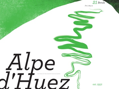Alpe d'Huez: Modern design type typography cycling bikes bicycle orange retro france alps dhuez