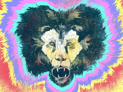 Putting the Lion in LSD illustration lion animal colour digital psychedelic drawing