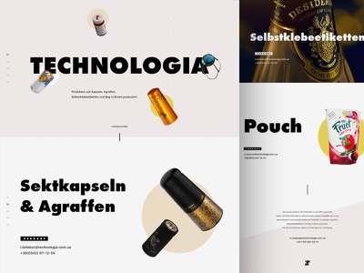 Technologia. Promo page. bold typography landing website
