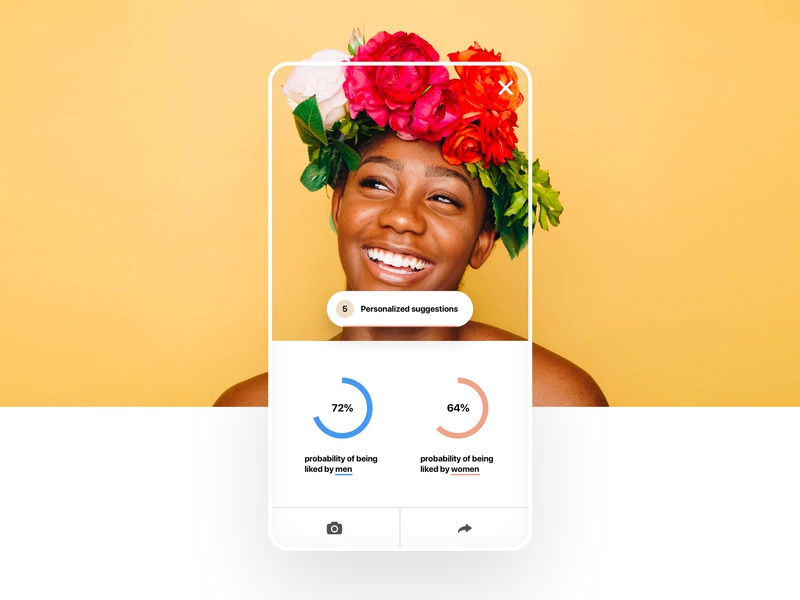 Selfiemeter: results screen design white ui typography clean app