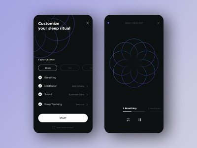 Sleep Booster: Customization Screen illustration design ui typography clean app