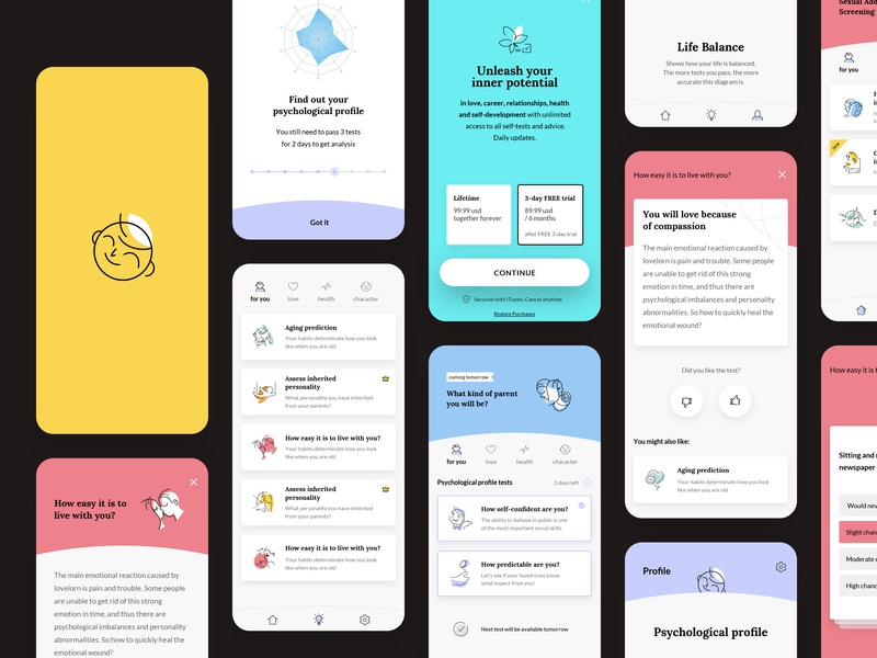 Life Booster app profile design ux white illustration logo ui typography clean app