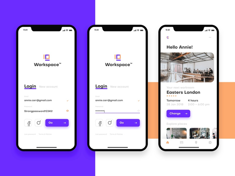 Workspace App work restaraunt booking iphone x ios design ux minimal ui logo app
