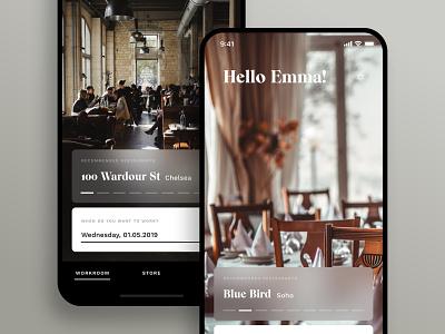 Workroom — Start design app design lifestyle restaurant iphone x ios ux minimal ui app
