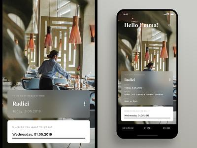 Workroom — Reservation app design lifestyle restaurant iphone x ios ux minimal design ui app