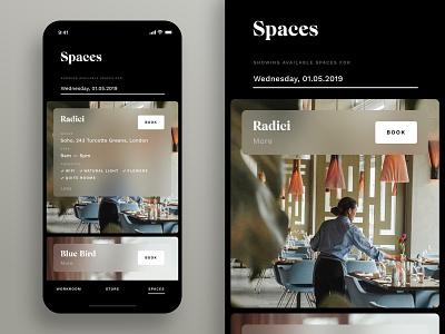 Workroom —Spaces lifestyle restaurant iphone x ux ios design minimal ui app