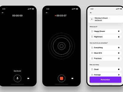 Dreams — Voice Recording / Details app design dashboard iphone x ios ux minimal design ui app