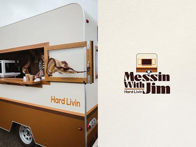 Messin With Jim - Coffee Shop Logo - 70s caravana caravan graphic design new brand logo new coffee brand coffe logo vector cafe illustration beans design branding packaging logo retro vintage 70s