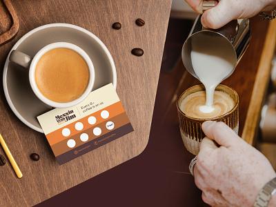 Messin With Jim - Coffee shop anding card loyalty card caravan vintage retro 70s stationer adobe graphic design vector cafe illustration beans design branding packaging logo