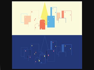 Day and Night illustration ux ui illustration design minimal unique vector versatile flat modern