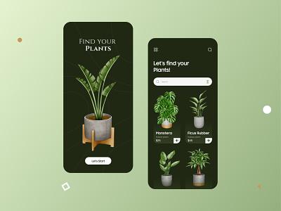 Plants App Design inspiration trend typography clean mobile potted plant green plant app app plants uiux ux ui flat vector design versatile minimal unique modern