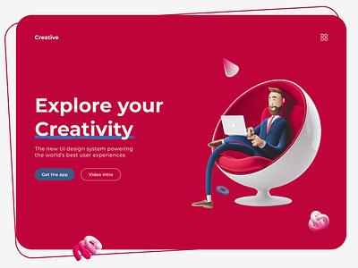 Creative Landing Page uiux graphic design product design website design landing page website web 3d branding ui ux design versatile unique minimal modern