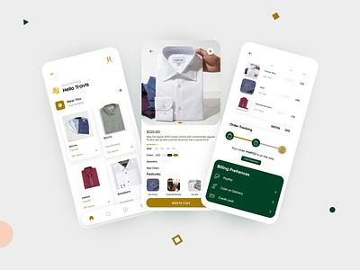 Hale and Ashe App Design interface product design mobile app convrtx clean design unique versatile uiux shirts tailor app clothing branding ux ui minimal modern