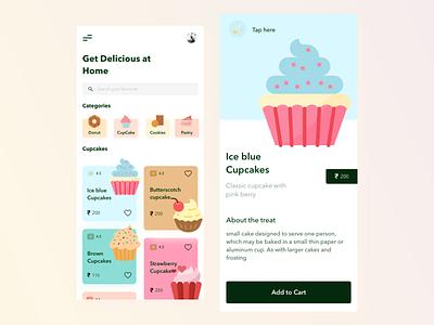Bakery App shopping typography design illustration bakeryathome appdesign uiuxdesign ui  ux uidesign treat bakery uiux ui