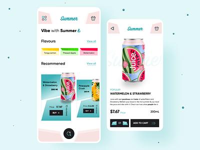 Summer juice App concept motion graphics branding app drink logo illustration ui trending new inspiration design ui  ux uiuxdesign uidesign ui design appdesign uiux