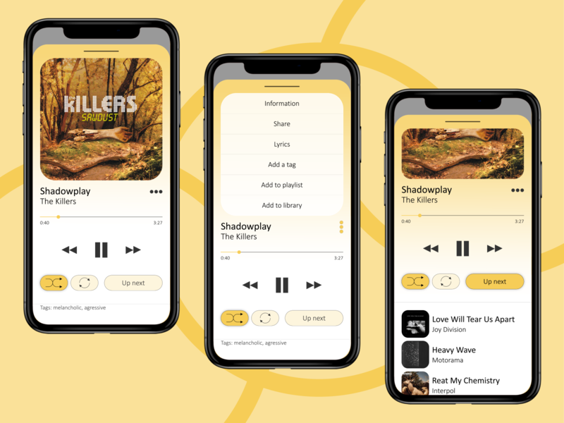 🟡Music player overlay light app light illustraion ux ui play music player music app music mobile illustrator concept app
