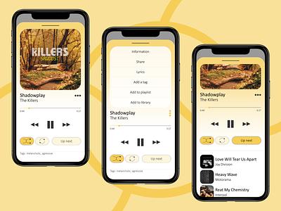 🟡Music player overlay light app light illustraion ux ui play music player music app music mobile illustrator concept app