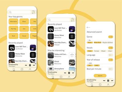 Advanced music search rework illustraion ux ui music player music app music mobile illustrator concept app