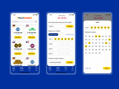 Lottery app lottery illustration design play concept ux ui mobile app