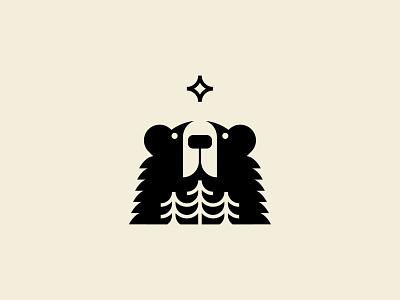 Gazer forest star bear icon illustration mark branding logo