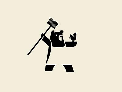 Chaaarge! funny mop duck bird bear icon illustration mark logo